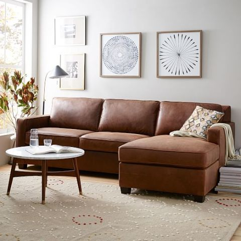 West Elm Henry Leather Two-Piece Chaise Sectional : leather sectionals with chaise lounge - Sectionals, Sofas & Couches