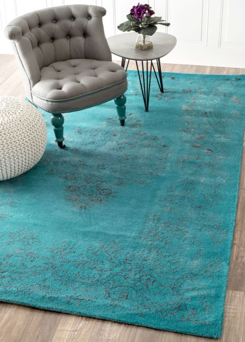 Rugs Usa Overdyed Turquoise Wool Area Rug