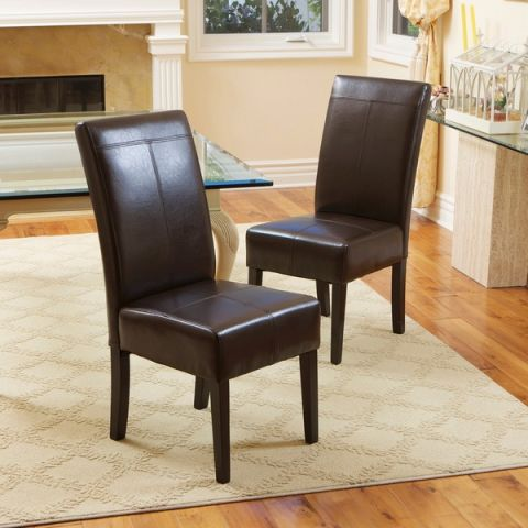 christopher knight home t stitch chocolate brown leather dining chairs. beautiful ideas. Home Design Ideas
