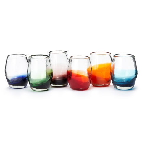 multicolor ombre stemless wine glass