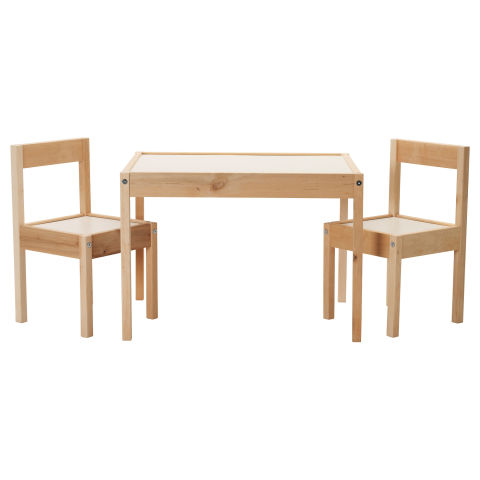ikea childrens table and 2 chairs set white and pine