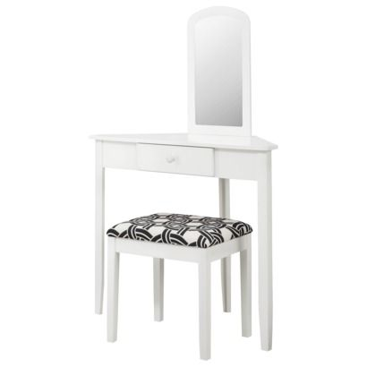 Small white makeup table mugeek vidalondon Corner dressing table
