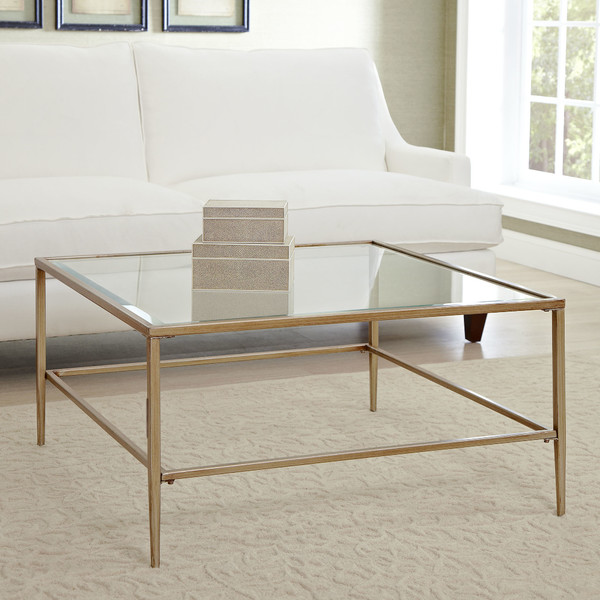 glass coffee table gold frame 2