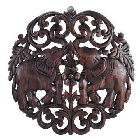 thanat circular double thai elephant handcarved wood wall art