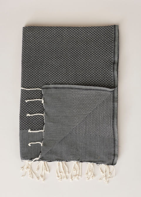 The Scents and Feel Black Honey Comb Solid Fouta Towel