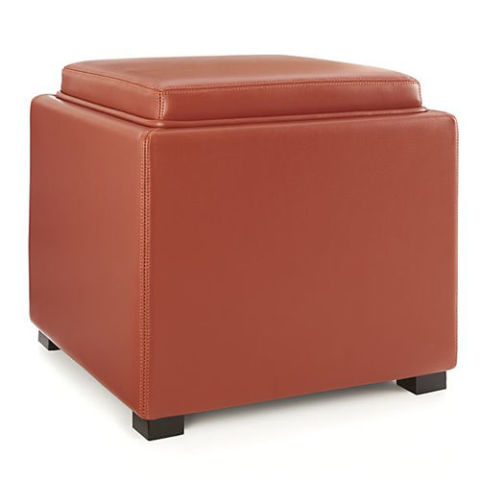 Crate U0026 Barrel Stow Red Leather Storage Ottoman