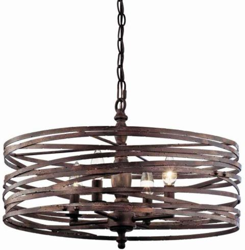 miseno weathered iron 4light strap cage chandelier