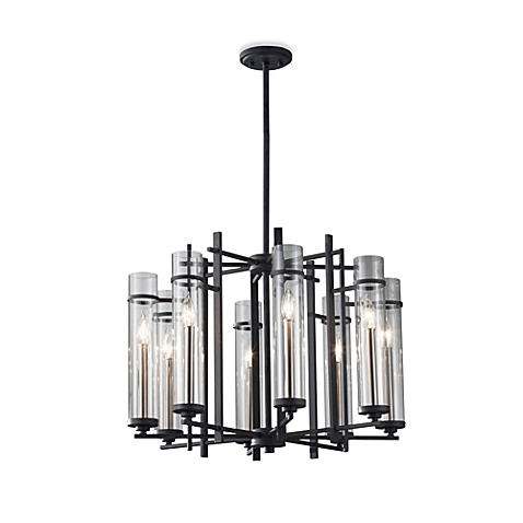 Feiss Ethan Wrought Iron 8-Light Tier Chandelier with Clear Glass Shades