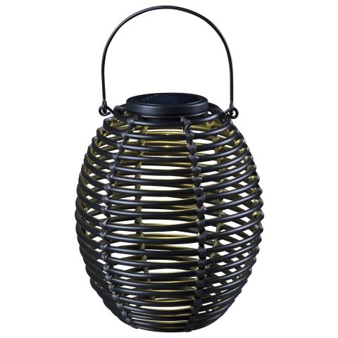 Solar rattan lantern light