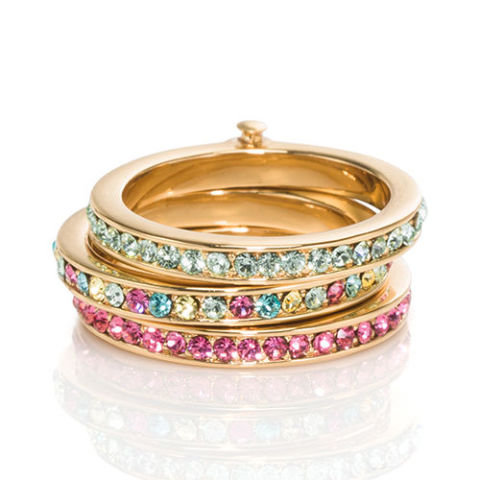 kate spade new york carnival stackable rings in multicolor crystals