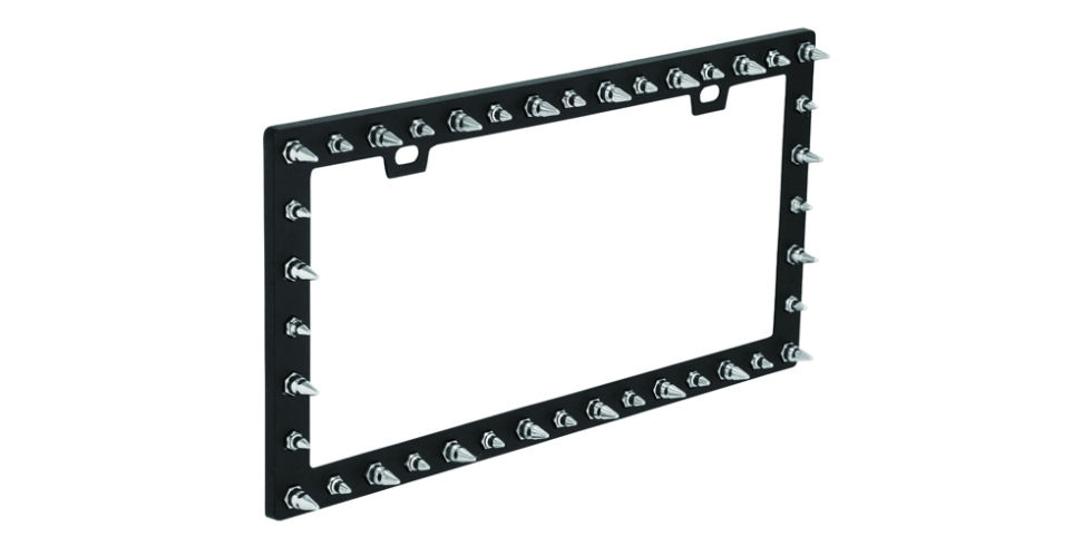 bell spike license plate frame