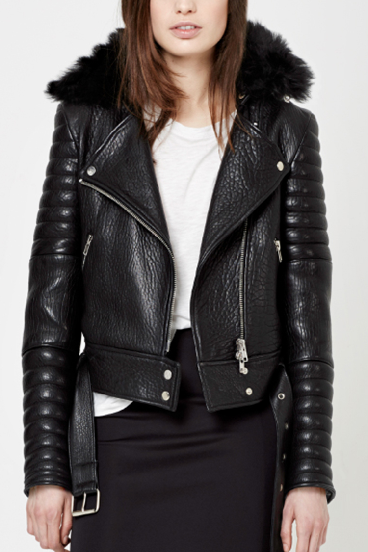 Leather moto jacket for women