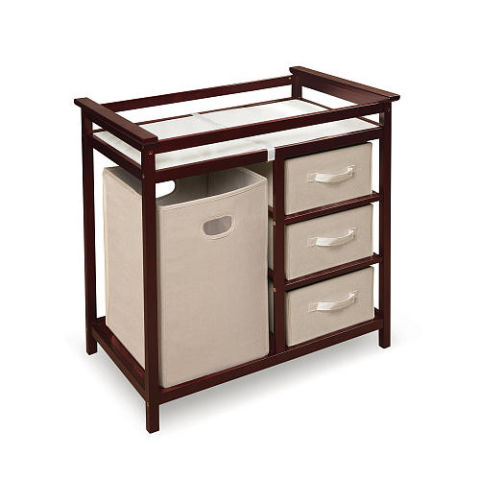 badger basket modern changing table with hamper and three baskets cherry