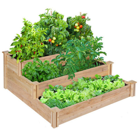 Greenes Fence Company 3 Tiered Cedar Raised Garden Bed