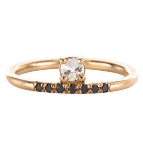 Mociun Stacked White Diamond Pave Black Ring