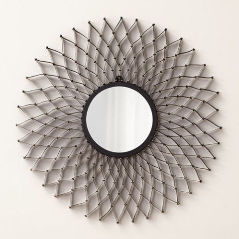 crate u0026 barrel dahlia round wall mirror