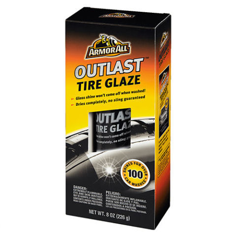 $8 BUY NOW There are many manufacturers making tire-shine sprays, but for the most part they are a giant waste of time, unless you're staying parked at a Show And Shine for a few hours on a sunny day. This tire glaze from ArmorAll doesn't give your tires that super wet look, but unlike the other guys, it's claimed to last through up to 100 car washes.