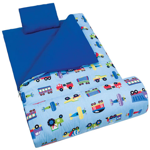 8 Olive Kids Trains Planes Trucks Sleeping Bag