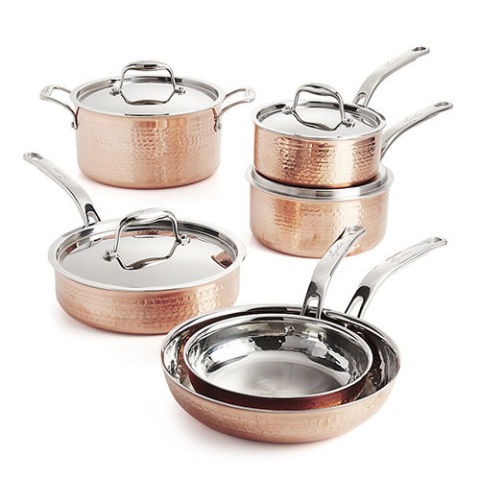lagostina martellata hammered copper 10piece cookware set - Copper Cookware Set