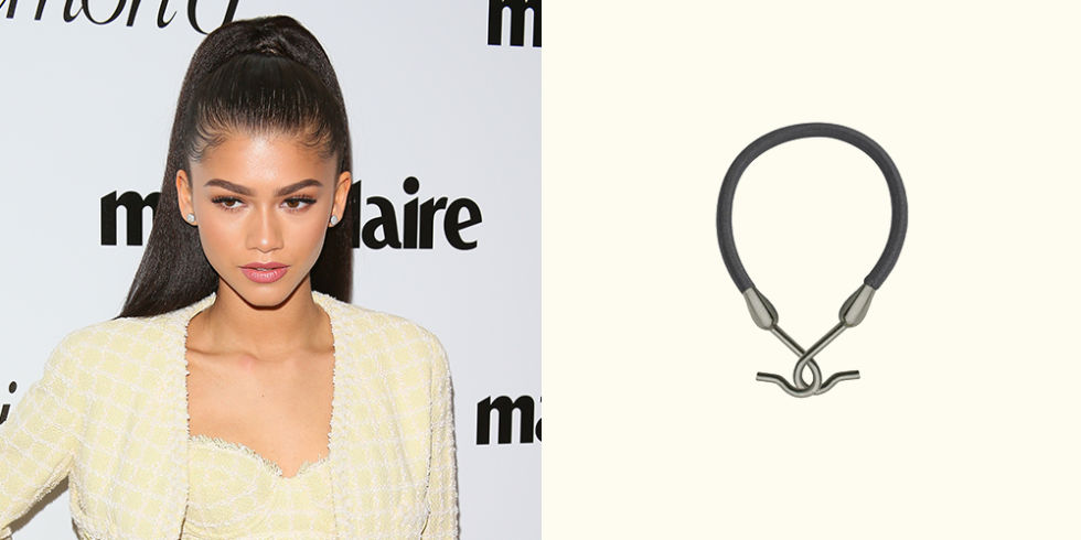 Use: Hair Bungee Original, $13, hairbungee.com If you're going for a severe, tight ponytail, standard hair ties are often unreliable. Throughout the day it loosens, and fly-aways appear, the ponytail droops, and ultimately your perfected 'do is looking a little lopsided. To score Zendaya's supermodel quo, you're aiming to achieve a high, fierce pony that stays in place. Hair Bungees come in blonde, brown, and black to match the exact shade of your strands, and are almost 5 inches of bound elastic that hook at the ends.