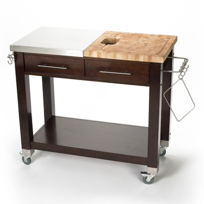 Chris U0026 Chris Pro Chef Kitchen Island With Butcher Block Top