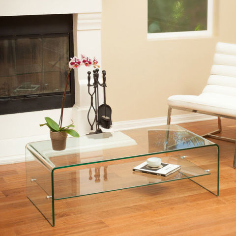 Christopher Knight Home Ramona Glass Coffee Table With Shelf - 12 Best Glass Coffee Tables In 2017 - Glass Top Coffee Table Reviews