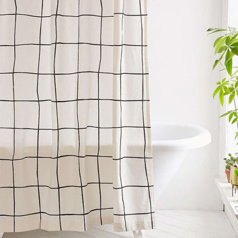 urban outfitters wonky grid shower curtain