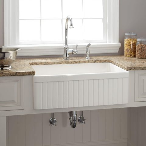 Awesome Baldwin Fireclay 30 Inch Fluted Apron Farmhouse Sink