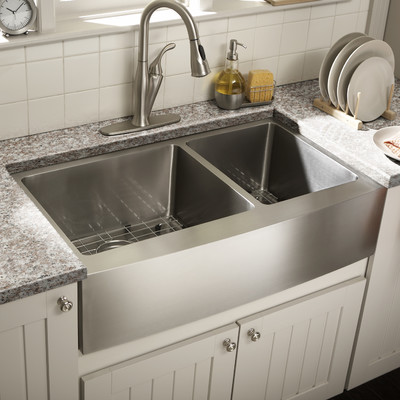 double bowl farmhouse kitchen sink sinks lowes stainless steel apron vigo chrome faucet and dispenser