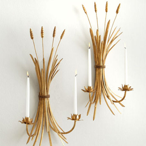 neiman marcus two wheat candle sconces