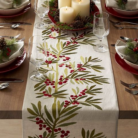 Charming Crate U0026 Barrel Holly Embroidered Table Runner