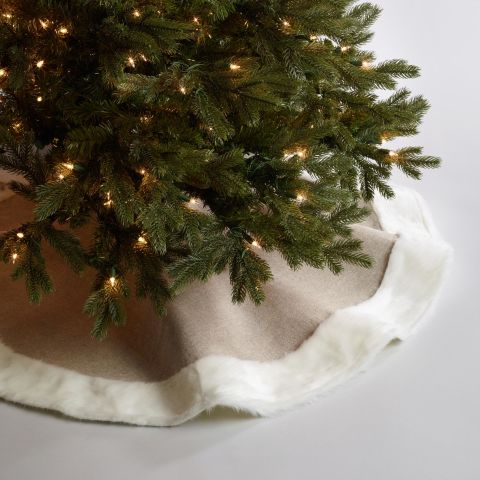 world market faux linen and fur tree skirt - White Christmas Tree Skirts