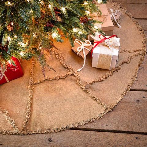 Everything Primitives Natural Burlap Reverse Seam 48 Christmas Tree Skirt