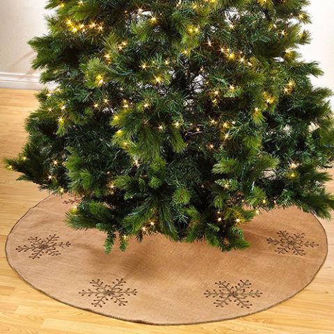saro jeweled snowflake burlap natural christmas tree skirt - Natural Christmas Tree