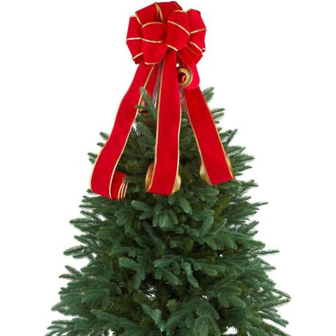 home accents holiday red flocked bow tree topper