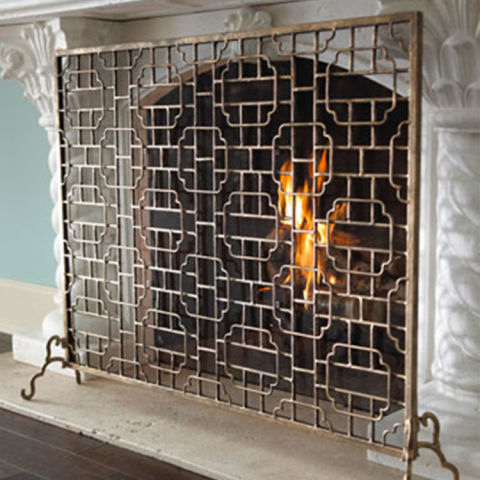 Horchow Single-Panel Fireplace Screen - 10 Best Fireplace Screens For Winter 2017 - Decorative Metal
