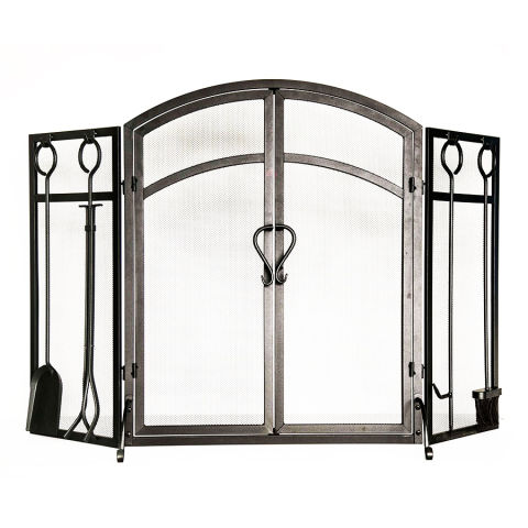 Style Selections 3-Panel Arched Twin Fireplace Screen - 10 Best Fireplace Screens For Winter 2017 - Decorative Metal
