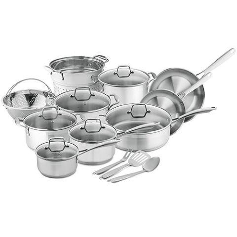 Chefu0027s Star Professional Grade Stainless Steel 17 Piece Pots U0026 Pans Set