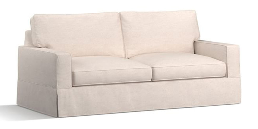 pottery barn comfort square arm slipcovered sleeper sofa