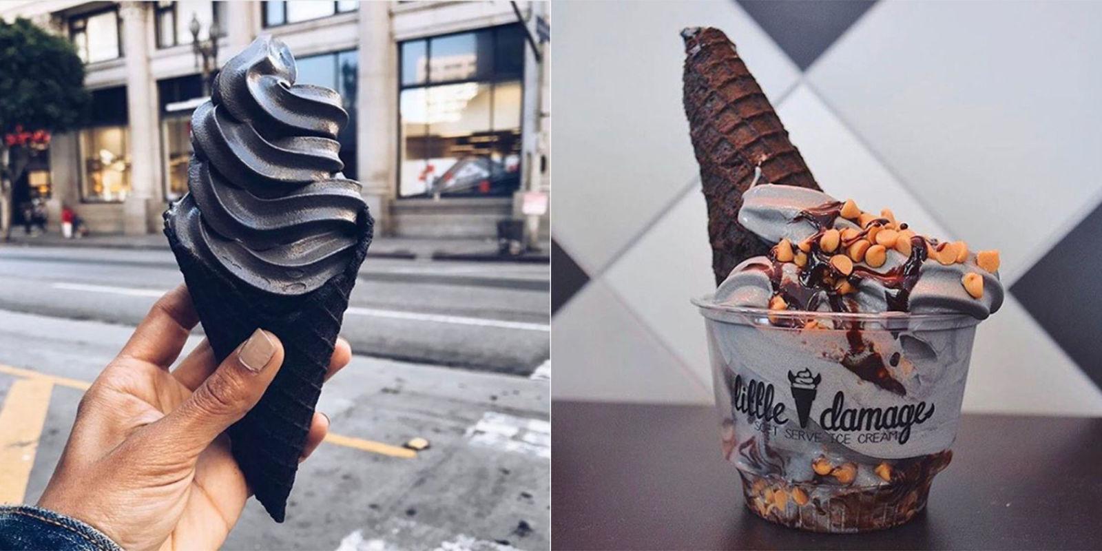 Little Damage Ice Cream In La Serves Black Ice Cream From
