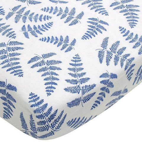 organic cotton blue fern crib sheet
