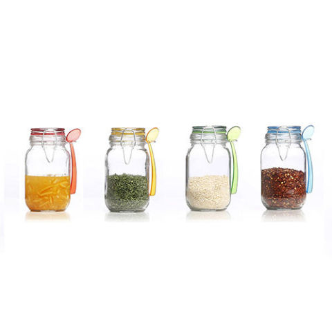kinetic gogreen glassworks 4piece round glass mini jar set with spoon - Glass Spice Jars