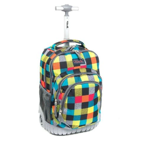 3 Tilami Checkered Rolling Backpack
