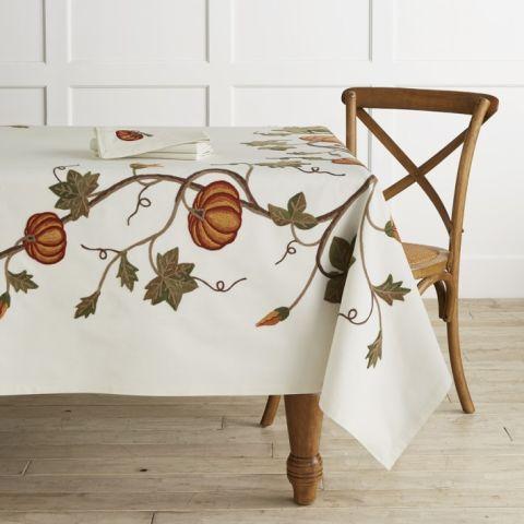 Williams Sonoma Pumpkin Embroidery Tablecloth