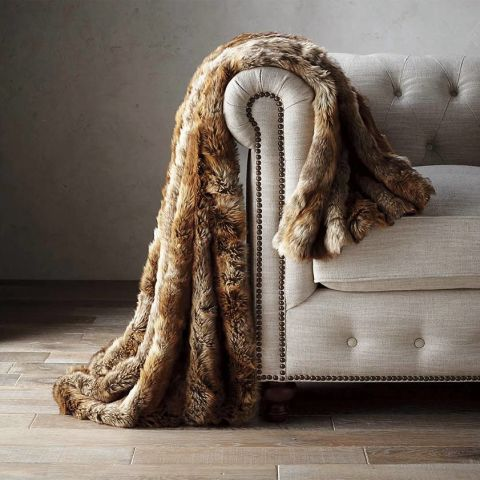 JK Luxury Super Soft Long Shaggy Throw Blanket Faux Fur Warm Elegant Cozy with Fluffy Blanket Bedspread Suitable for Bed Chair or Sofa ( x cm, White)(51