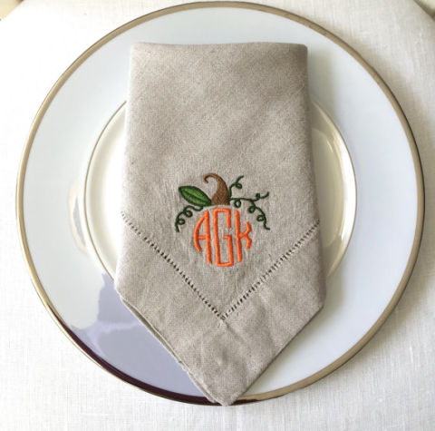 whimsea cottage embroidered linen napkin