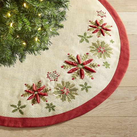 Pier 1 Imports Red Green Burlap Tree Skirt