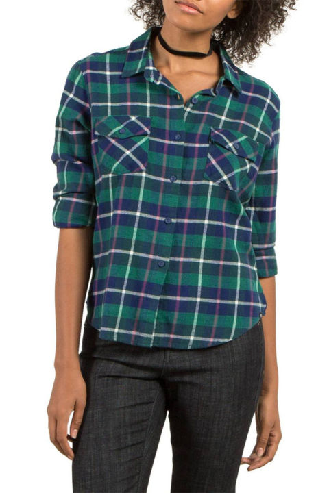 10 best womens flannel shirts for winter 2018 cute for Womens green checked shirt