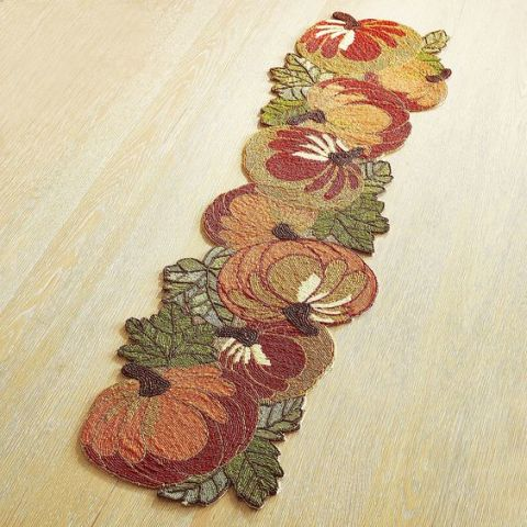 Pier 1 Imports Harvest Pumpkin Beaded Table Runner