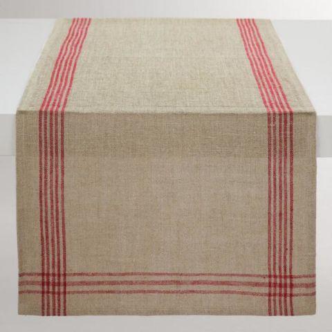 World Market Red Stripe Linen Table Runner